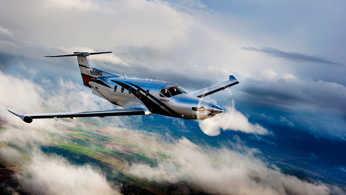 Pilatus PC-12 in the clouds
