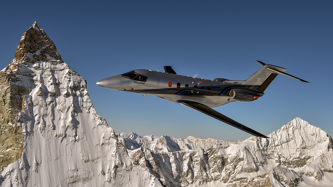 Pilatus PC-24 over mountains